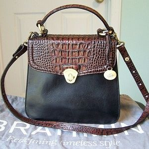 BRAHMIN LADY TUSCAN LEATHER SATCHEL PECAN BAG